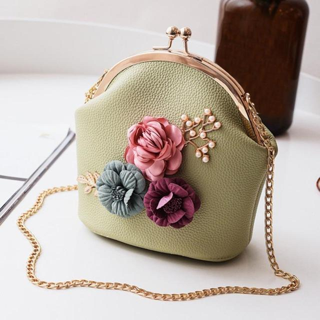 Women Fashion Stereo Flowers Shoulder Bag Ladies Small Vintage Tote Bag Purseintothea-intothea