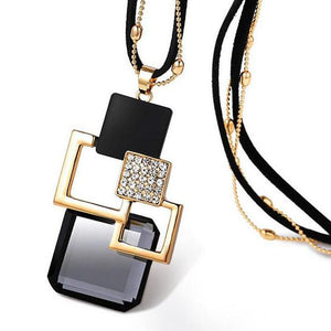 2016 fashion personality Silver color Hollow Geometric Big Crystal long Pendant Necklaceintothea-intothea