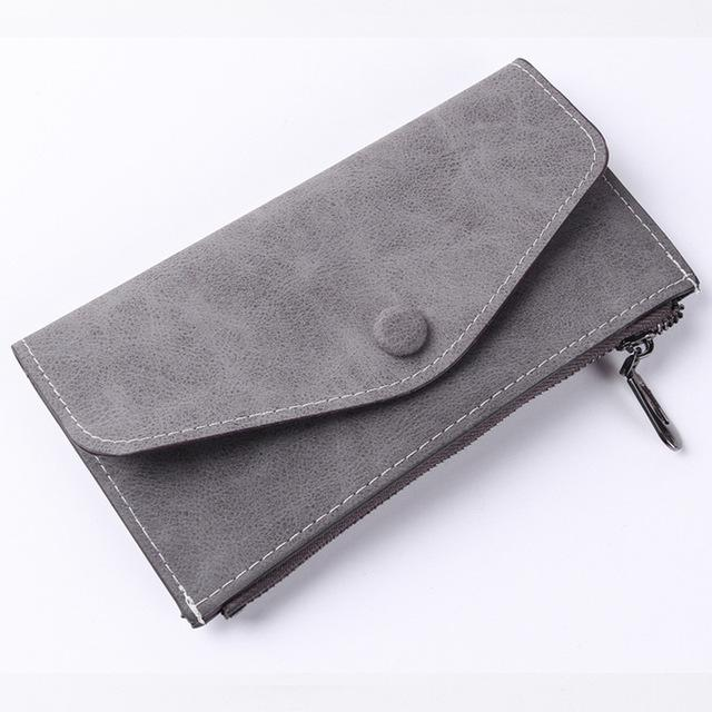 Women Long Wallet PU Leather Zipper Frosted Ultra-thin Casual Cell Phone Pocketintothea-intothea
