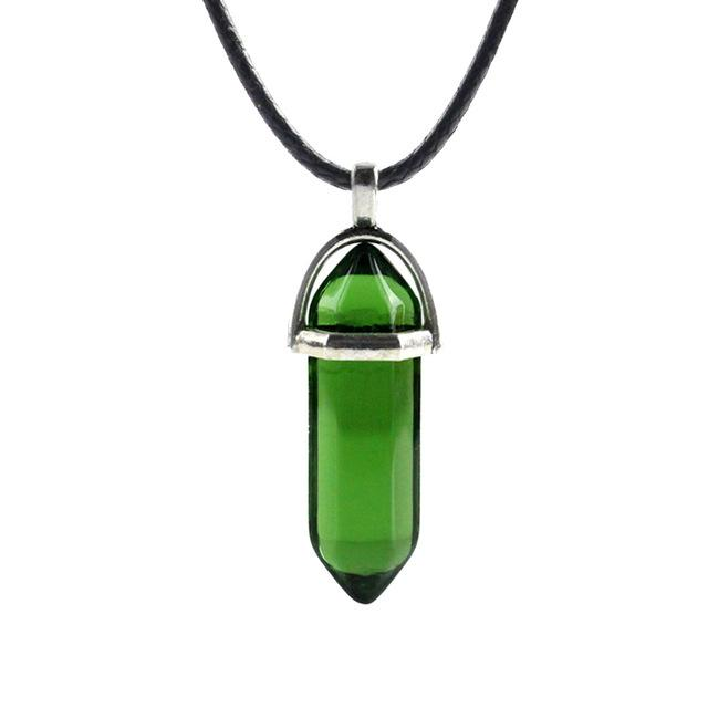 Hexagonal Column Natural Crystal Turquoises Optal Glass Stone Pendant Necklace Leather Chainsintothea-intothea