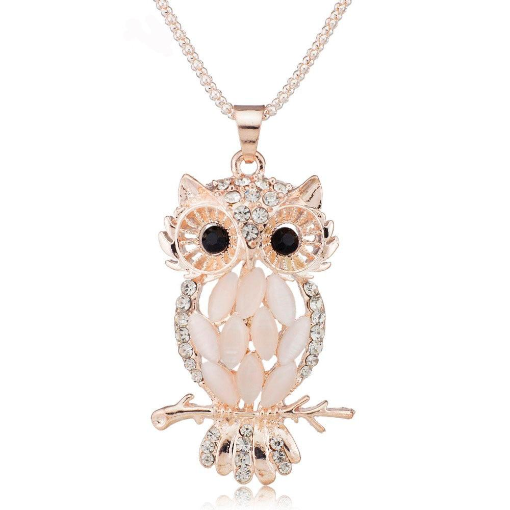 Stylish Charming Sparkling Owl Crystal Necklaces & Pendants Necklace for Women Weddingintothea-intothea