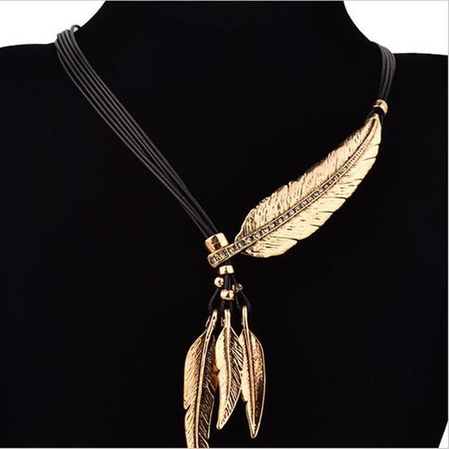 Punk 2018 Bohemian Leaves Sweater Chain Rope Feather Pattern Women Pendantintothea-intothea