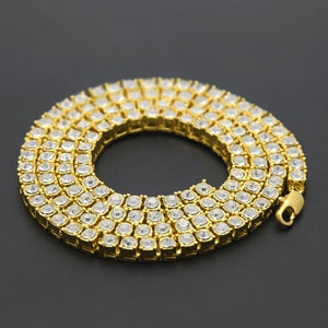 Hip Hop Gold Chain 1 Row 5mm Round Cut Tennis Necklace Chainintothea-intothea
