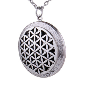 Antique Silver Aromatherapy Essential Oil Diffuser Necklace Flower of Life Lockets Pendantintothea-intothea