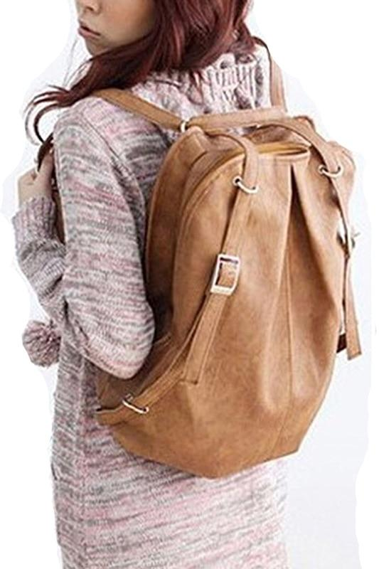 HEBA Chic Fashion Korean Style Girls' PU Leather Backpack School Bag Dailyintothea-intothea