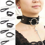 Womens Man Sexy Rivet Alternative metal slave PU Leather Collar Traction Rope,BDSMintothea-intothea