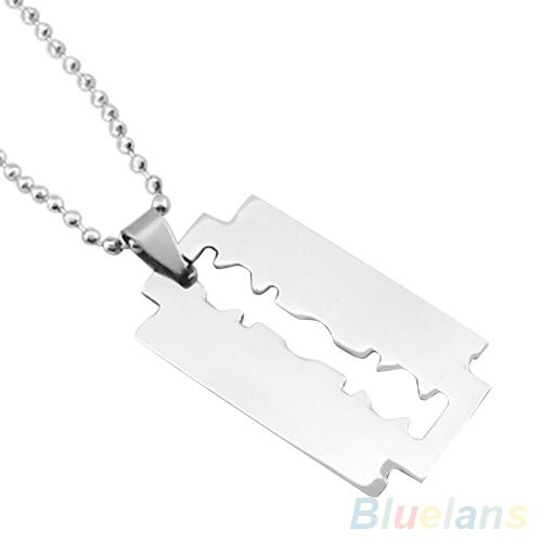 Men's Stainless Steel Razor Blade Pendant Silver Color Ball Chain Necklace 4DELintothea-intothea