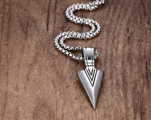 Men's Oxidized Vintage Spearhead Pendant Necklace for Men Stainless Steel Determination ofintothea-intothea