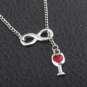 SG Newest Fashion Lover's Red Heart Wine Bottle Necklaces High Quality Silverintothea-intothea