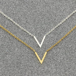 Simple V Necklaces Charm Women's Fashion Jewelry Stainless Steel Ketting Choker Friendshipintothea-intothea