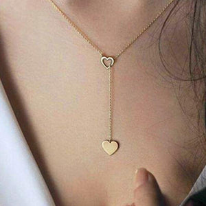 New Fashion Jewelry Copper Heart Chain Link Necklace Gift for Women Girlintothea-intothea