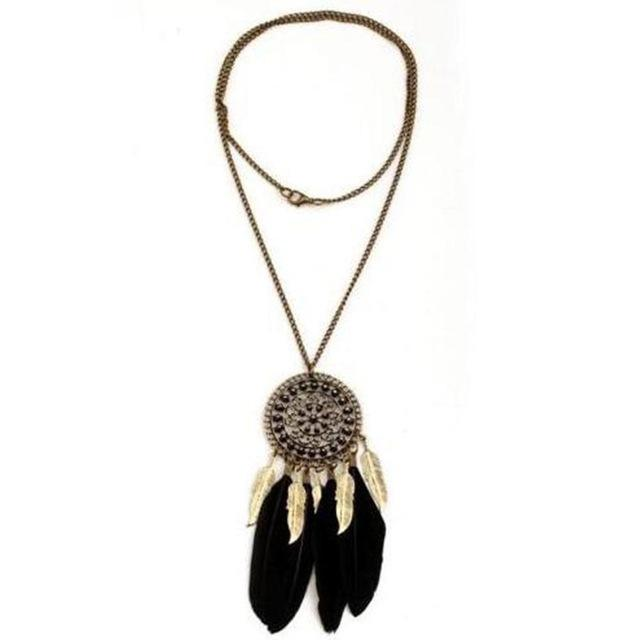 Boho Retro Black Green Feather Pendant Necklace Alloy Chain Coin Ethnic Indianintothea-intothea