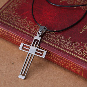 Religious Jesus cross Pendant Stainless Steel necklaces pendants Leather Chain charm necklaceintothea-intothea