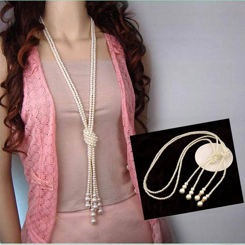 Classic Double Layer Knot Simulated Pearl Tassel Long Necklace Women Trendy Sweaterintothea-intothea