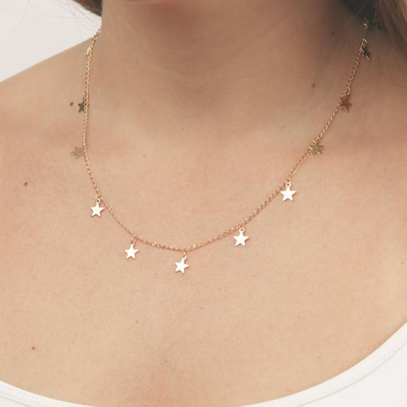 Fashion Women Jewelry Natural Alloy The Five-pointed Star Pendant Necklace And Heartintothea-intothea