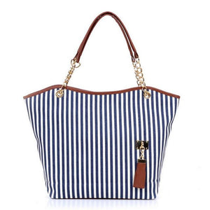 Striped Casual Tote Women Canvas Handbag Casual Single Shoulder Shopping Bags Beachintothea-intothea