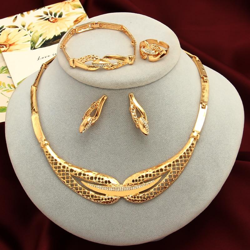 Dubai Gold Jewelry Sets African Beads Statement Necklace Earrings Bracelet Ringintothea-intothea
