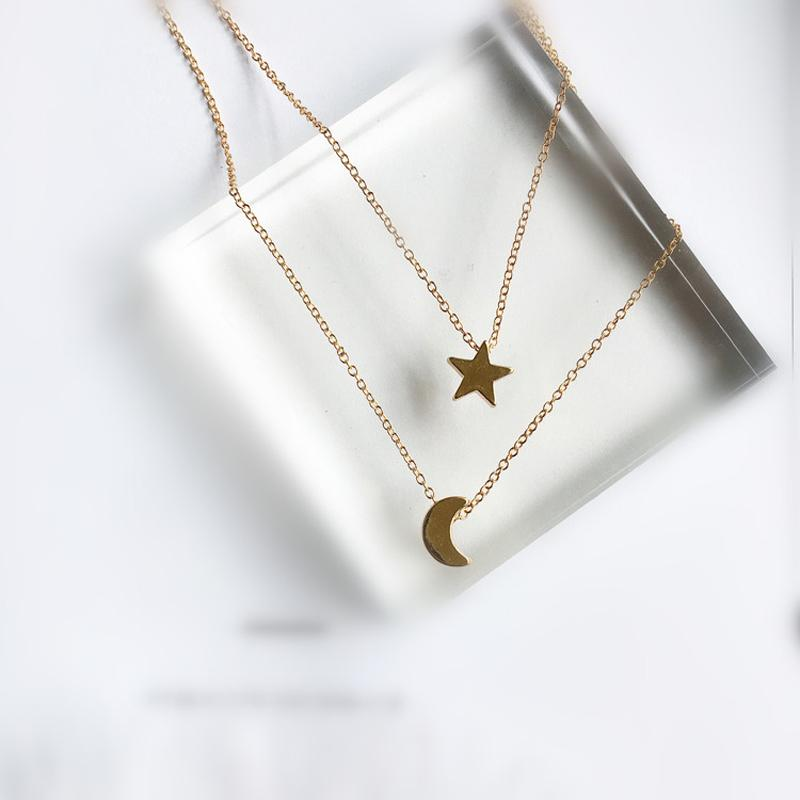 long star moon necklaces pendant fashion Silver Gold Color jewelry statement necklaceintothea-intothea