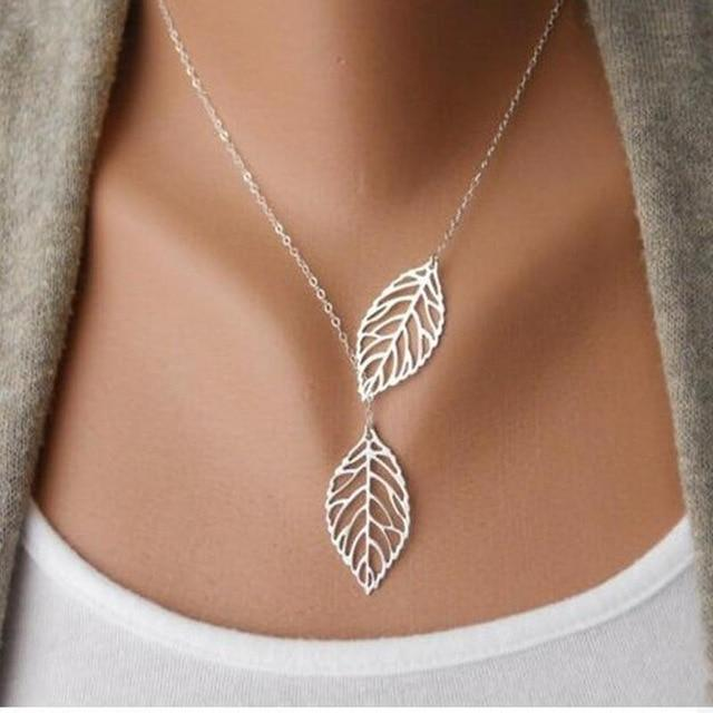 2018 Hot Fashion Gold Silver Plated Chain Necklace Leaf Casual Beads Longintothea-intothea