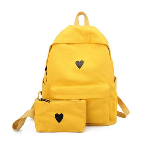 High Quality Canvas Printed Heart Yellow Backpack Korean Style Students Travel Bagintothea-intothea