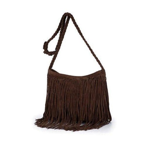 Women Tassel Fringe Shoulder Messenger Suede Handbag Cross Body Bag Purse kintothea-intothea