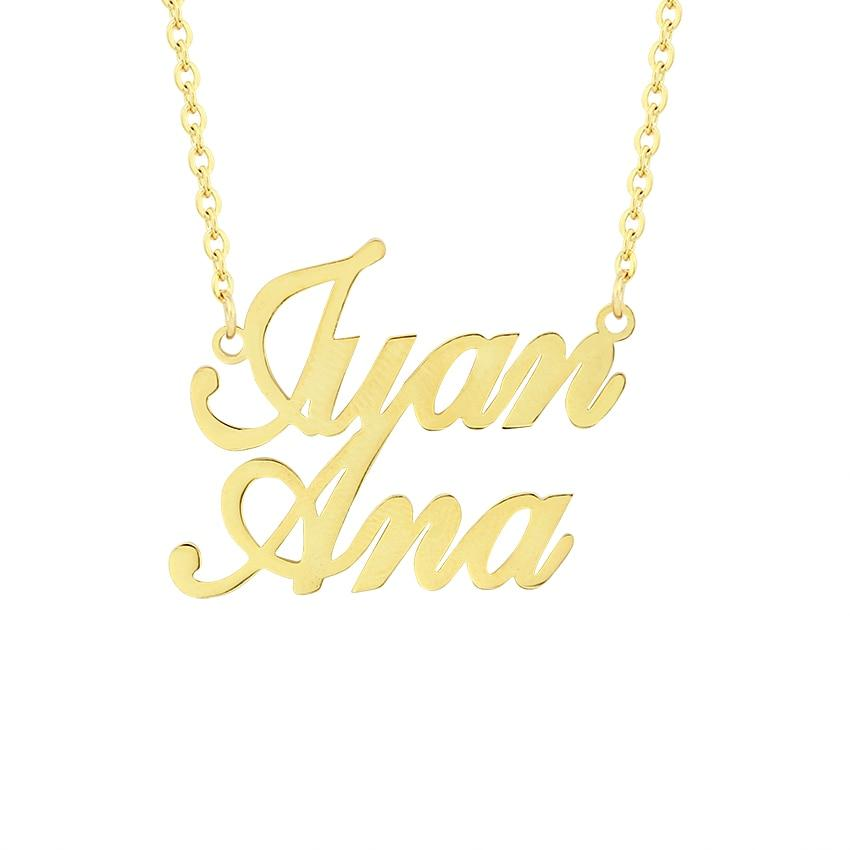 Tiny Personalized Two Name Necklace Handmade Custom Name Plate Pendant Necklaces Womenintothea-intothea