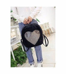 2018 Christmas Gift Clear Bag DIY Transparent Love Heart Shape Plush Backpackintothea-intothea