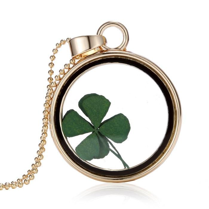 real Four Leaf Clover dome necklace Women necklace cool jewelry gift Newintothea-intothea