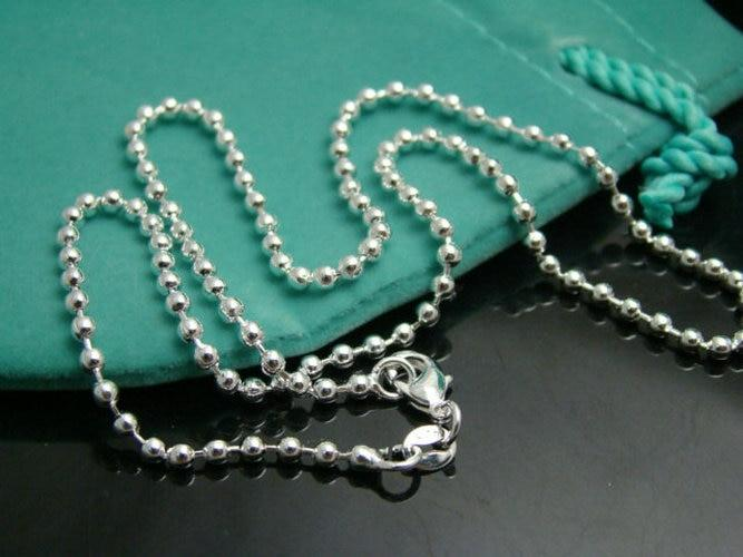 CN3 2mm Beads chain necklace,Wholesale lots Fashion jewelry 925 stamped silver platedintothea-intothea
