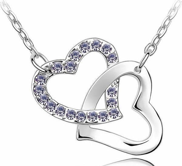 Free Shipping top quality drilling AAAA+ rhinestone 8 colors Necklace Double Heartintothea-intothea