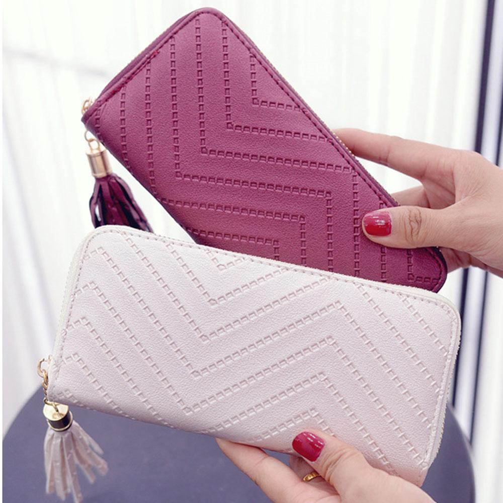 Women Long Wallet Lady Leather Wallet Clutch Handbag Checkbook Purse Tasselintothea-intothea