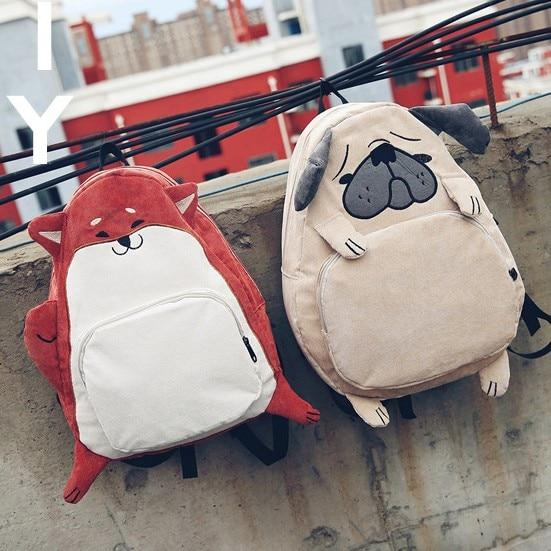 New Creative Personality Designer Dog Fox Bookbags For Girls Cute Cartoon Schoolbagsintothea-intothea