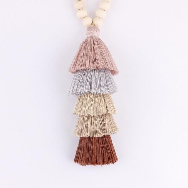 10mm Round Natural Wood Beads Tassel Pendant Long Chain Tiered Threaded Tasselintothea-intothea