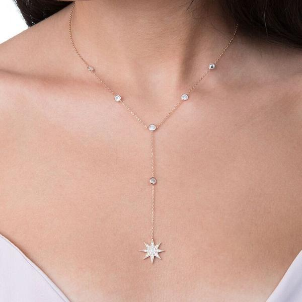 three color long lariat chain cz station bezel cz link chain sparkingintothea-intothea