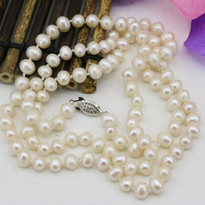 Fashion 7-8mm pearl natural pearls white beads necklace for women long chainintothea-intothea
