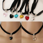 2017 Fashionable Sweet Love Heart Crystal Necklace Black Velvet Collar Necklace Jewelryintothea-intothea