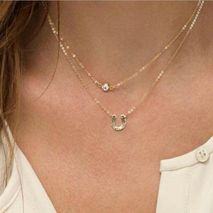 x129 Fashion Gold Color 3 Layers Chain Necklaces For Women Letter Uintothea-intothea