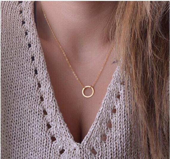2018 New Hot Fashion Gold Color Circle Pendant Necklace Maxi Statement Chokersintothea-intothea