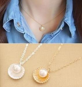 2018 Hot Fashion Minimalist Temperament Imitation Pearl Shell Shaped Pendant Chokers Necklaceintothea-intothea