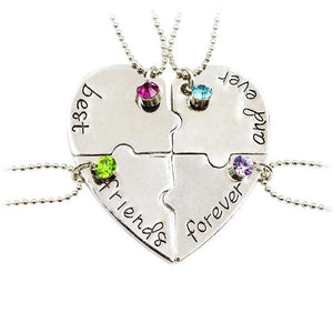 New Popular Jewelry four parts of the puzzle Heart shaped inlay rhinestonesintothea-intothea