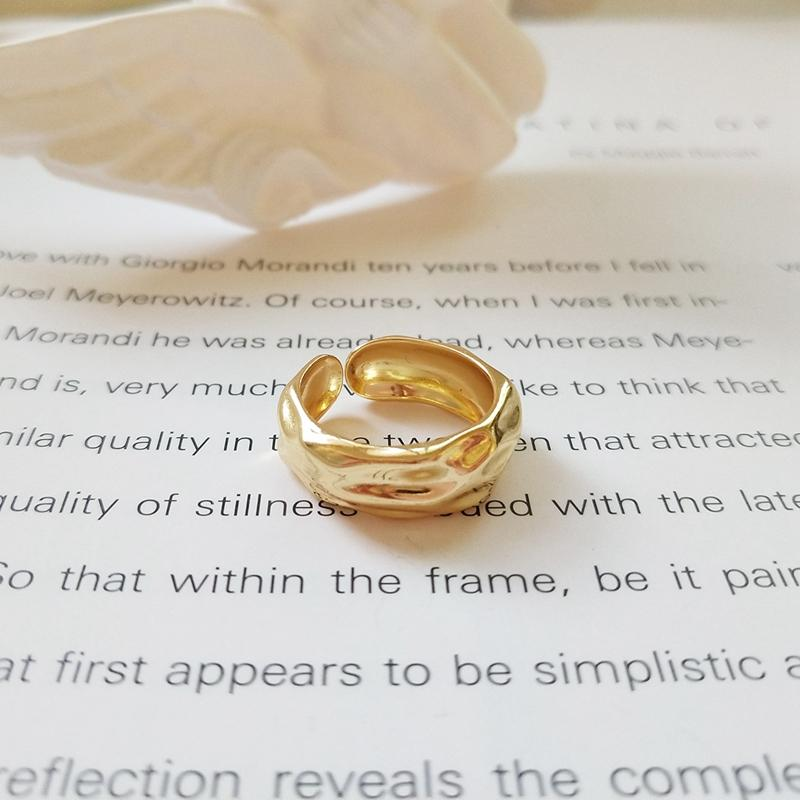 Water wave 925 sterling silver gold color rings designer works simple elementintothea-intothea