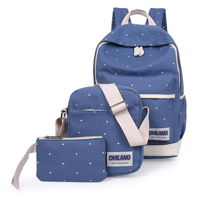 3Pcs/Sets Korean Casual Women Backpacks Canvas Book Bags Preppy Style School Backintothea-intothea