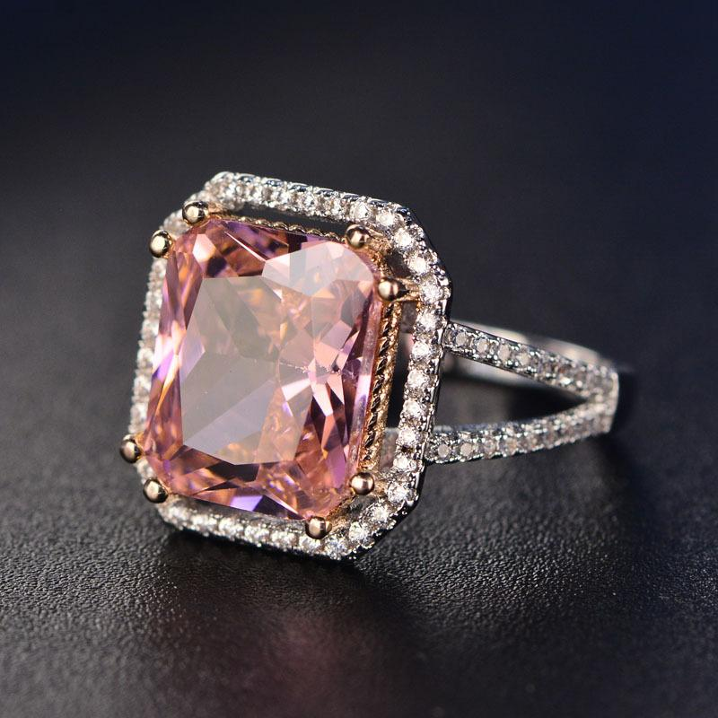 S925 Rings For Women Sterling Silver Pink Big Square Topaz Diamant Fineintothea-intothea