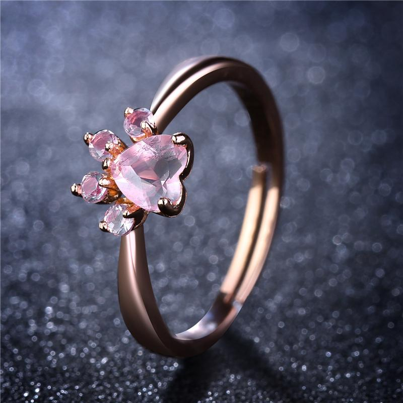 Bear Paw Cat Claw Opening Adjustable Ring Rose Gold Rings forintothea-intothea