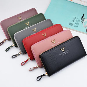 Brand Designer Leather Phone Wallets Women Purses Long Zipper Red Coin Walletintothea-intothea
