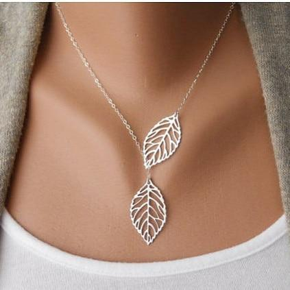 Simple leaf collars Choker Necklace Pendants Women Jewelry Clavicle Chain Statement Collarintothea-intothea