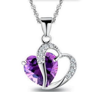 New Silver Jewelry Peach Heart Zircon Crystal Necklace Clavicular Chainintothea-intothea
