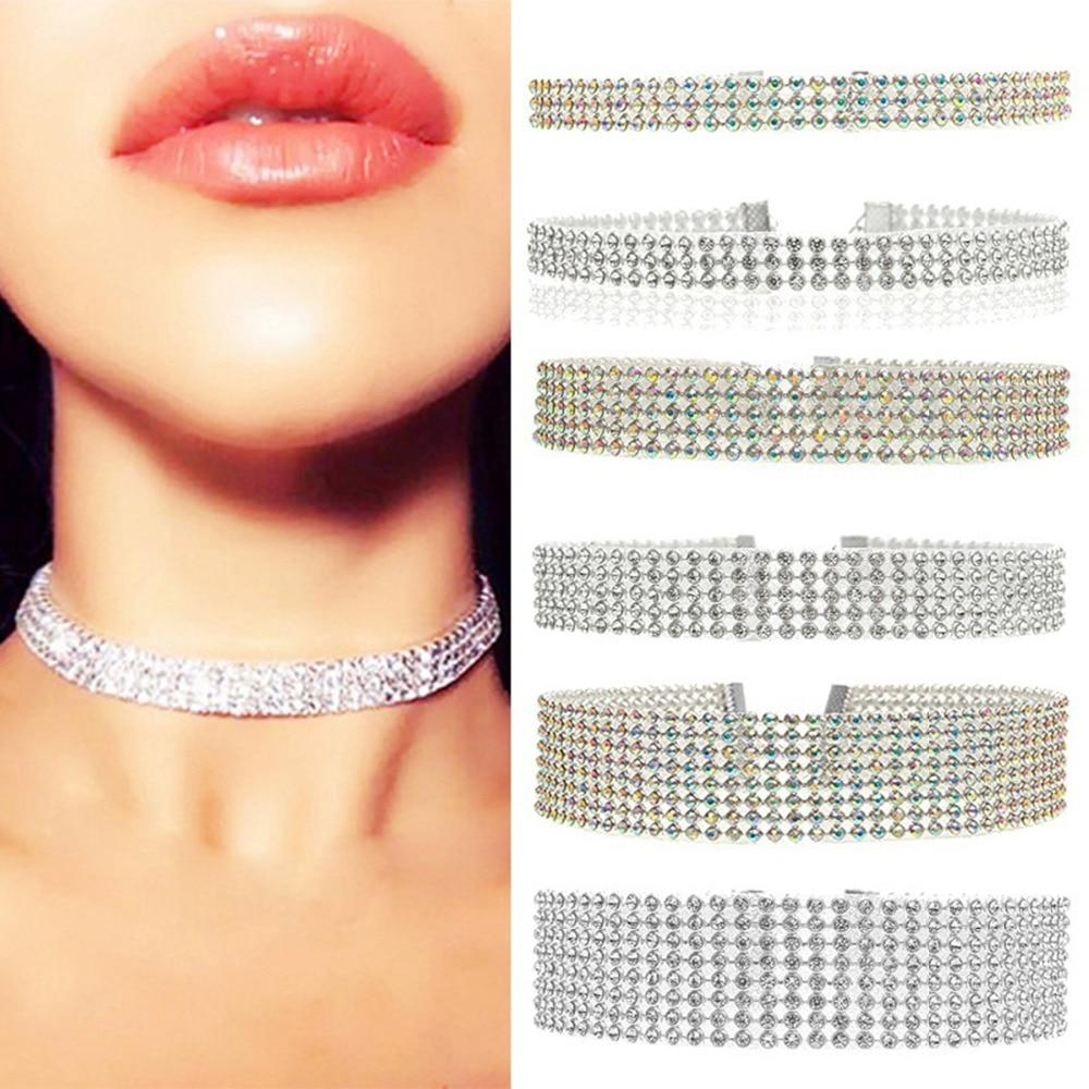 3 Colors Women Popular Bundle Neck Element Necklace Extra Wide Full Rhinestoneintothea-intothea