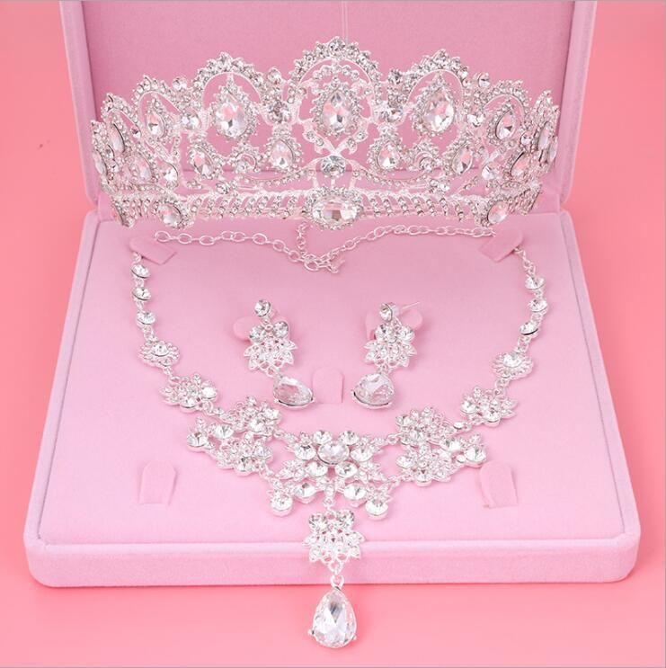 Womens Crystal Pearl Jewelry Hair Crown Headpiece Necklace Pendant Earrings Setsintothea-intothea