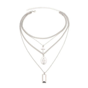 VEKNO Multilayer Chain Coin Cross Necklace Pendants For Women Silver Gold Colorintothea-intothea